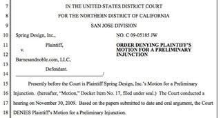 Illustration for article titled Spring Design's Injunction to Stop Barnes & Noble's Nook Sales Denied