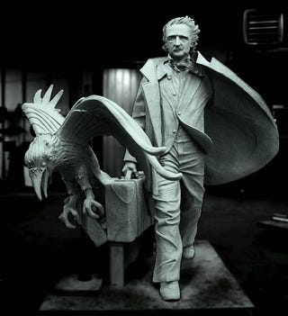 Illustration for article titled Somebody shopped sunglasses onto the Poe statue by now, right?