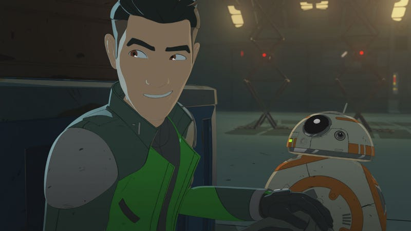 Kaz Xiono hangs with a familiar droid in Star Wars Resistance.
