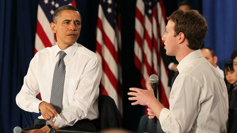 Obama and Zuck at a Facebook town hall in 2011. Image: Getty