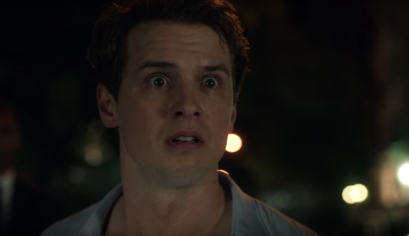 Freddie Stroma as H.G. Wells, makes this face for approximately 60% of the two-hour premiere. Image: ABC.