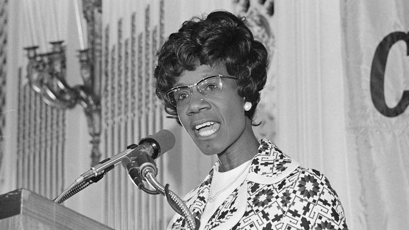 Shirley Chisholm, Democratic Congresswoman seeking the nomination for president, makes a point during a speech in San Francisco on Tuesday, May 16, 1972. Photo via AP Images.
