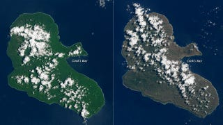 Illustration for article titled Before-And-After Pics Show Vanuatu Stripped Bare By A Category 5 Cyclone