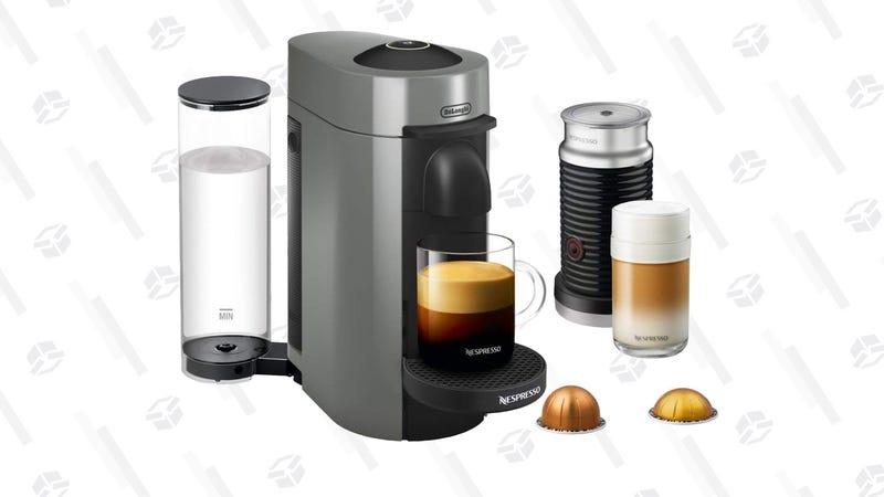 Nespresso VertuoPlus Coffee and Espresso Maker + Milk Frother + Capsules (White and Gray) | $130 | Amazon