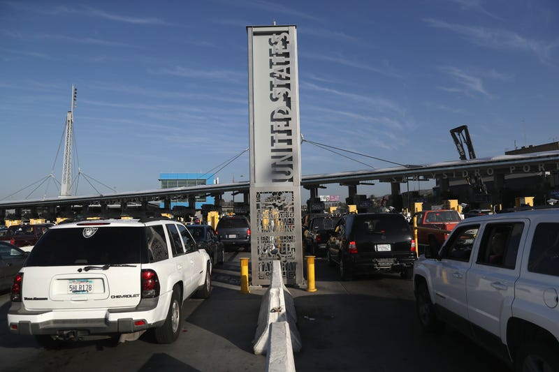 Motor vehicle traffic waits to cross the U.S.-Mexico border from Tijuana, Mexico, on Sept. 23, 2016. (John Moore/Getty Images)