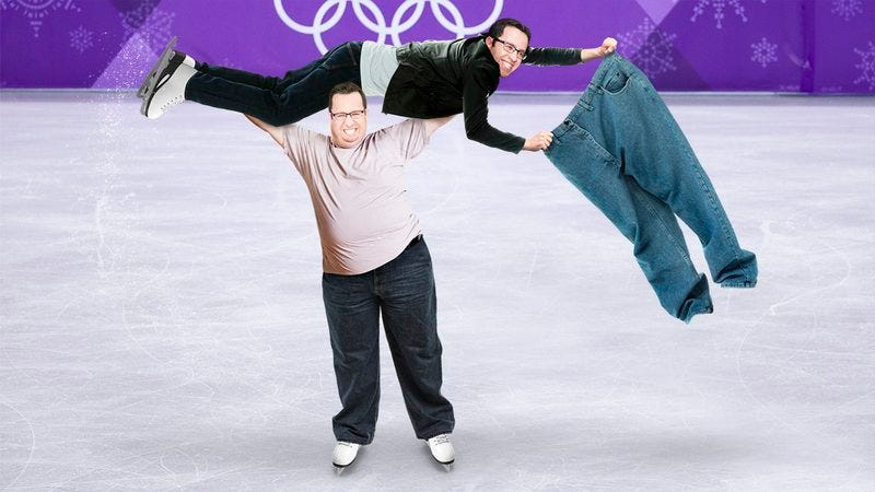 Fat Jared Fogle and Skinny Jared Fogle ice skating.