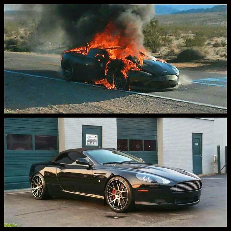 Illustration for article titled Aston Martin catches fire on Life in 6th Gear rally, burns to the ground