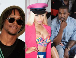Lupe Fiasco (Joe Kohen/Getty Images Entertainment); Nicki Minaj (Dave Kotinsky/Getty Images Entertainment); Kanye West (Michael Loccisano/Getty Images Entertainment)