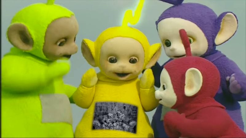 """Illustration for article titled Teletubbies and Die Antwoord collide in horrific mashup of """"I Fink U Freeky"""""""