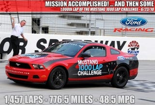 Illustration for article titled Eat This, Hybrids: Ford Mustang V-6 Gets 48.5 Mpg At Bristol Speedway