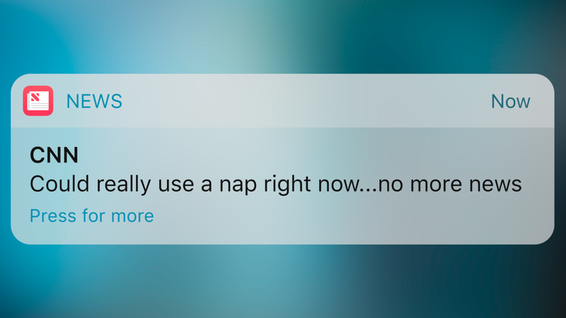 Illustration for article titled Overstepping Their Bounds: CNN Has Begun Sending Way-Too-Casual Push Notifications Announcing They're Tired And Can't Wait For The Weekend