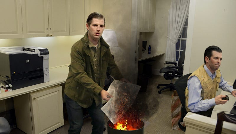 Illustration for article titled Trump Boys Frantically Burning Stacks Of Printed-Out Emails To Eliminate Paper Trail