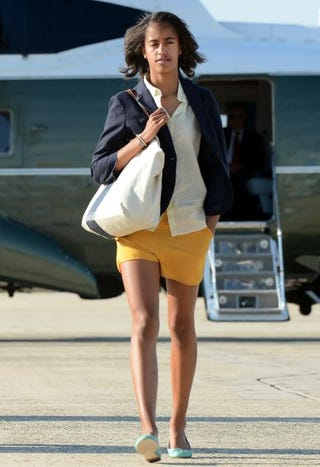 First daughter Malia Obama arrives at Andrews Air Force Base in Maryland on June 15, 2012, for a flight to Chicago.JEWEL SAMAD/AFP/GettyImages