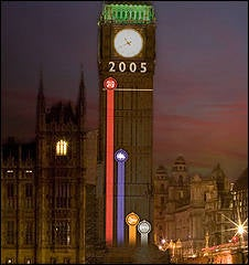Illustration for article titled British Election Results Projected On Big Ben Tomorrow