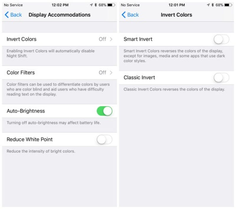 color color how to activate night shift and apples secret inverted colors