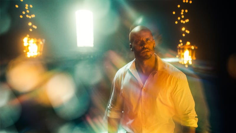 Shadow Moon (Ricky Whittle) stares at something magical.