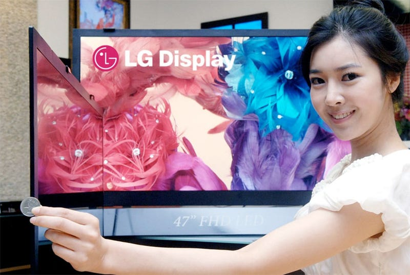 Illustration for article titled LG 'World's Thinnest' LCD TVs Are Just 6mm Thick
