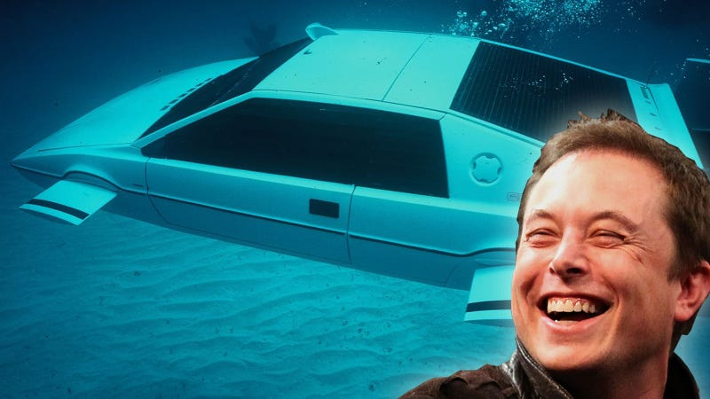 Illustration for article titled Elon Musk Is Secret Buyer Who Spent  $866K On James Bond's Lotus Sub