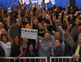 Supporters cheer while waiting for Republican presidential candidate Donald Trump to speak at a caucus-night watch party at the Treasure Island Hotel & Casino  in Las Vegas on Feb. 23, 2016.Ethan Miller/Getty Images