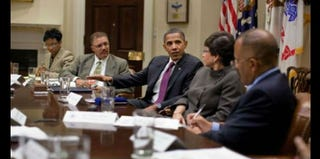 President Obama meets with African-American columnists of the Trotter Group in 2010. (Chuck Kennedy/White House)