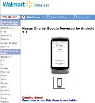 "Illustration for article titled Google's Nexus One On Sale At Walmart Wireless ""Soon"""