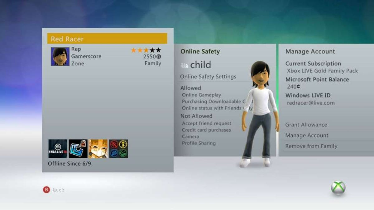 remove xbox live account from family