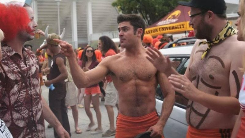 Zac Efron confronts a clown in Neighbors 2