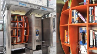 Illustration for article titled Phone Booths Reincarnated As Bookshelves Finally Make Phone Booths Useful
