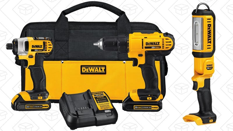 DEWALT 20V Lithium Drill Driver/Impact Driver Combo Kit + Work Light, $152