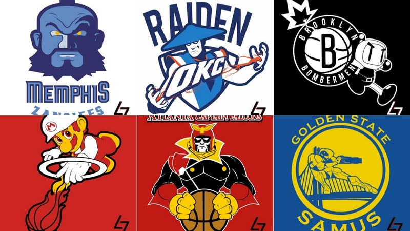 Illustration for article titled NBA Logos As Video Game Characters