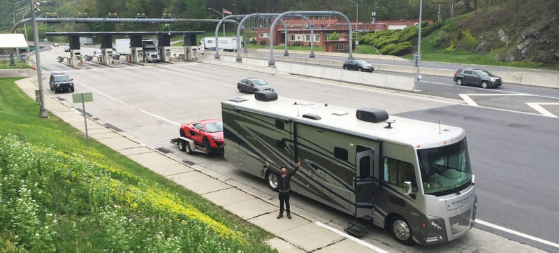 Illustration for article titled How This Big Ass RV Helped Us Sling A $240,000 Supercar Around A Dirt Track