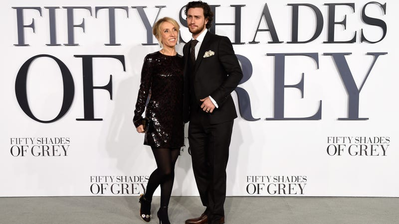Sam Taylor-Johnson with husband Aaron Taylor-Johnson. Photo via Getty Images.