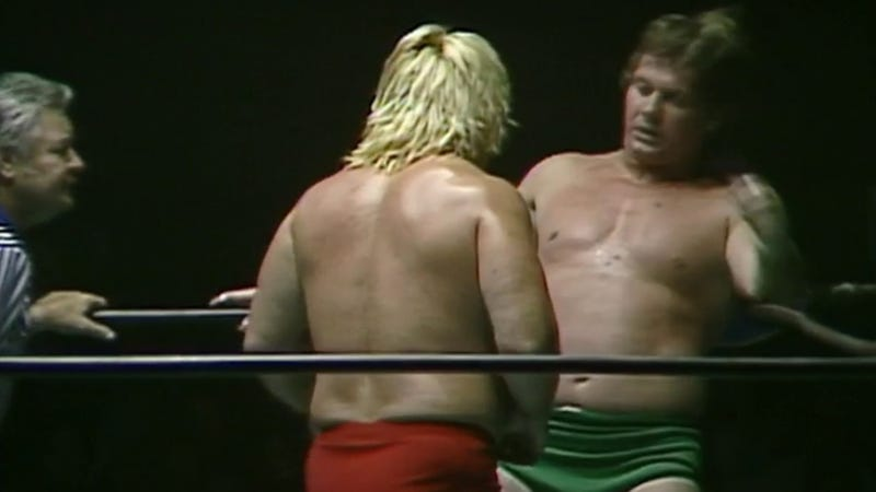 Greg Valentine corners Roddy Piper at the Charlotte Coliseum on July 8, 1983.