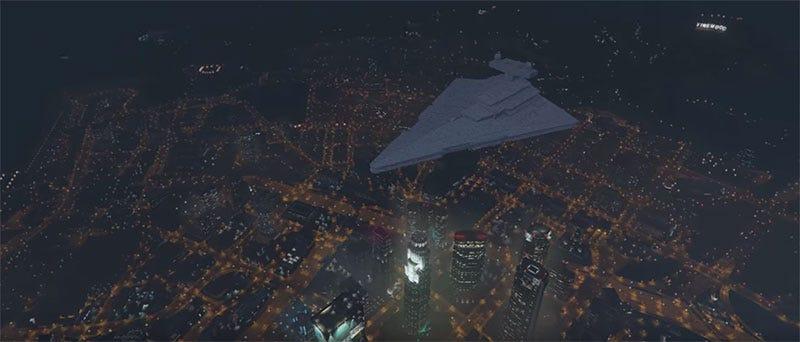Illustration for article titled Star Destroyer Mod Brings Space Death To GTA V