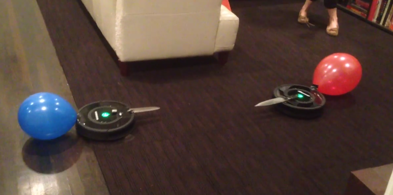 place your bets on this thrilling roomba knife fight. Black Bedroom Furniture Sets. Home Design Ideas