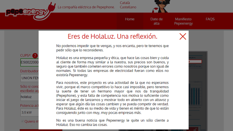Illustration for article titled Pepeenergy a clientes de HolaLuz: no impedimos que vengas, pero no es bueno que lo hagas