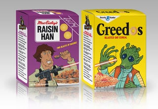 Illustration for article titled From Grape-Hutts to Count Dookula: fake Star Wars cereals