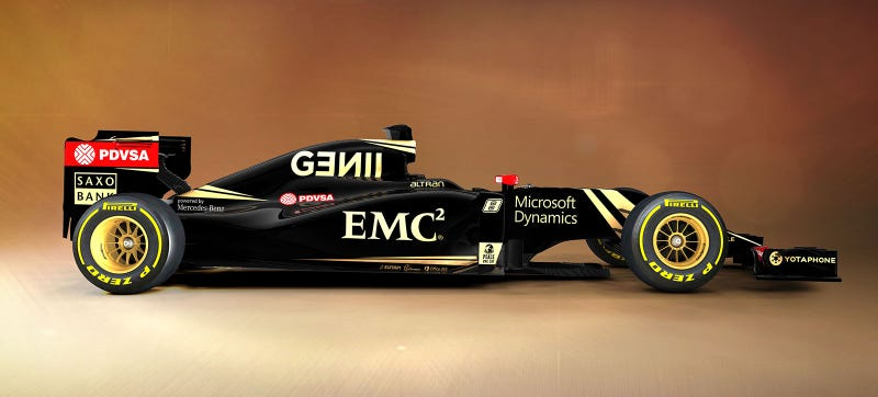 Illustration for article titled This Is The 2015 Lotus F1 Car In Black Goooooold