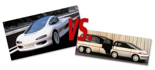 Illustration for article titled Concept Car Face-Off: Isuzu Como F1 Super Truck Vs. Plymouth Voyager 3