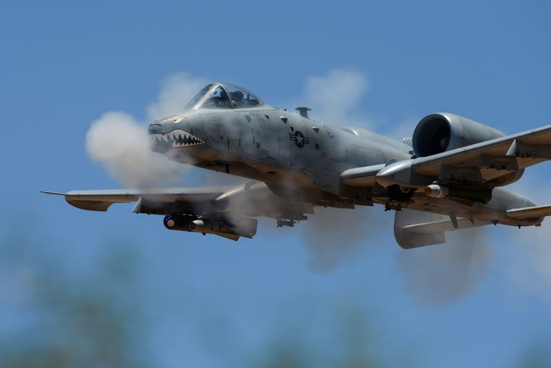 An A-10C Thunderbolt II assigned to 75th Fighter Squadron performs a low-angle strafe during the 2016 Hawgsmoke competition, June 2, 2016