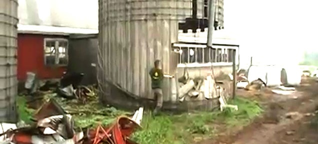 Crazy guy destroys a silo tower by smashing it with just one hammer