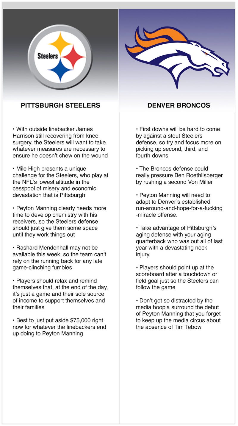 Illustration for article titled Steelers/Broncos
