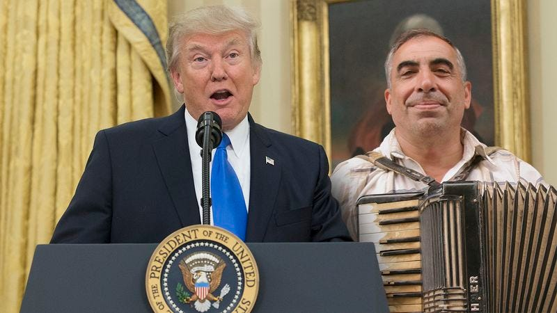 Illustration for article titled Keeping Jobs In America: Trump Has Convinced An Accordion Player Not To Move To China