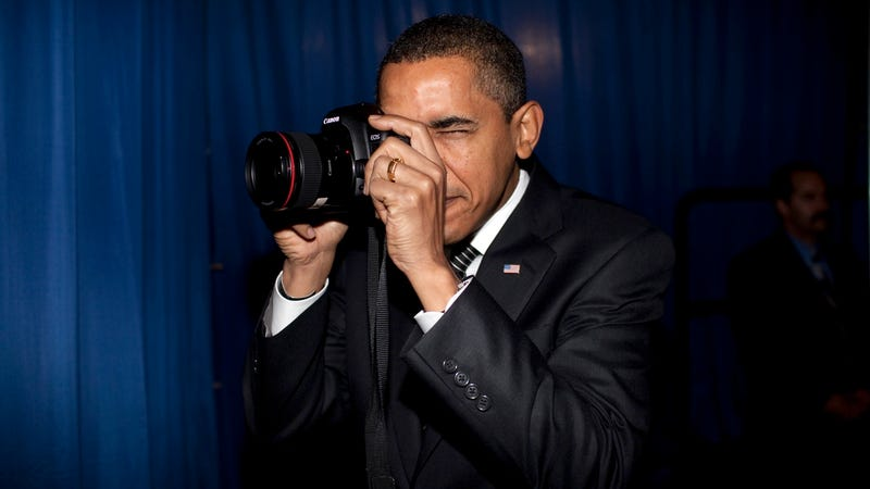 President Barack Obama with a camera on February 18, 2009
