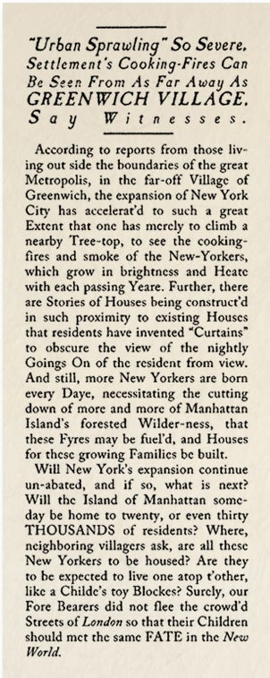 """Illustration for article titled Historical Archives: """"Urban Sprawling"""" So Severe, Settlement's Cooking-Fires Can Be Seen From As Far As Greenwich Village"""
