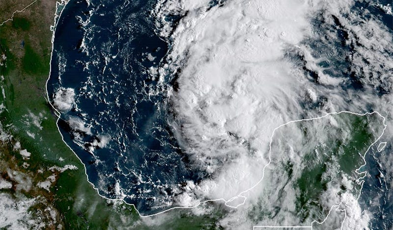 Tropical Storm Harvey as photographed by the GOES-16 satellite at 9:50 am EDT on August 23, 2017. (Image: NOAA/CIRA/RAMMB)