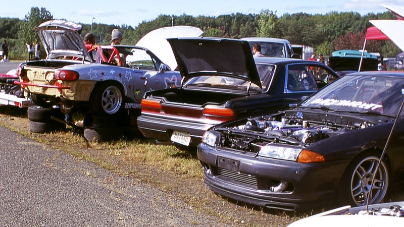A typical pit scene at Clubloose, with Black Market Drift's R32 Skyline parked up with a C33 Laurel at Freedom Moves. Photo: Raphael Orlove