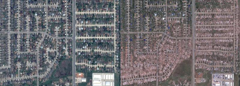 El antes y después del tornado de Oklahoma, visto desde Google Maps