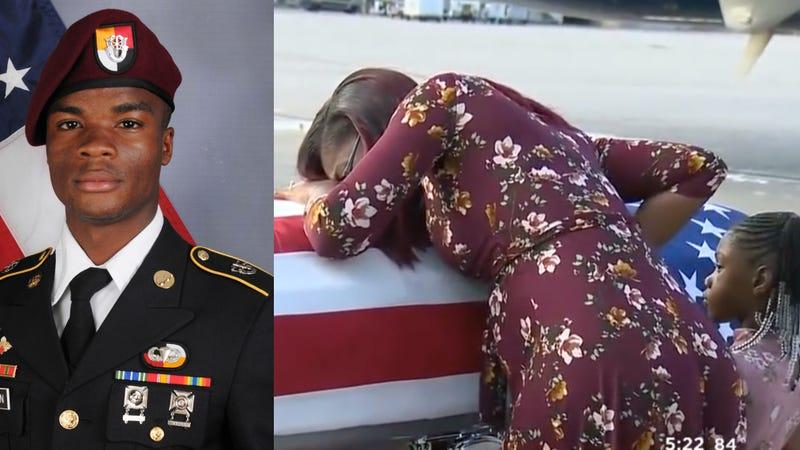 La David Johnson (AP Images/U.S. Army); Johnson's wife grieving over his coffin (CBS Miami via Youtube screenshot)
