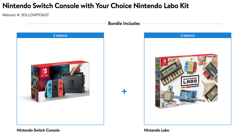 Nintendo Switch Console + Labo Kit of Your Choice | $339 | Walmart